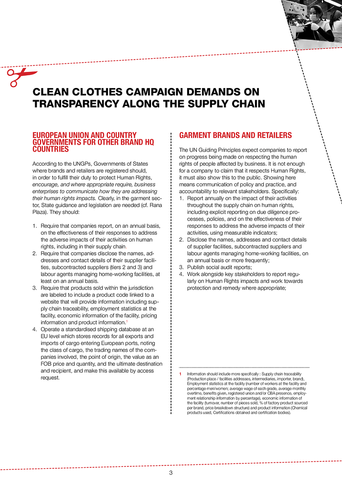 Clean Clothes Campaign Position Paper With Demands On Transparency Clean Clothes Campaign