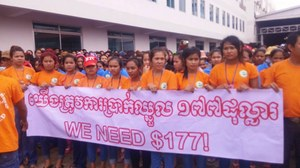 Cambodian workers call for US$177
