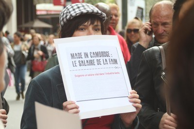 In November 2012 French campaigners took to the streets to call for all garment workers to be paid a living wage