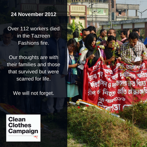 Clean Clothes Campaign statement on five years anniversary of Tazreen Fashions fire