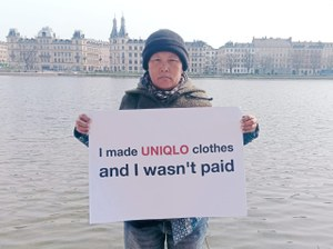 Former Uniqlo garment workers attend flagship store opening in Denmark to highlight Uniqlo's wage-theft