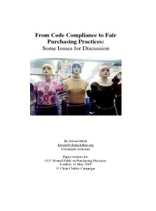 From Code Compliance to Fair Purchasing Practices: Some Issues for Discussion