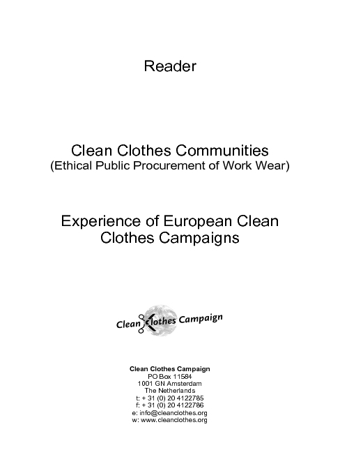 Clean Clothes Communities: Ethical Public Procurement of Work Wear