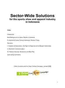 Sector Wide Solutions Indonesia (Revised version 2009)