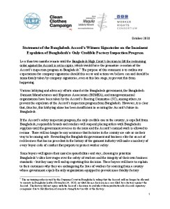 Statement of the Bangladesh Accord Witness Signatories on the Imminent Expulsion of the Only Credible Factory Inspection Program in Bangladesh